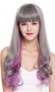 Damenperücke Perücke Lang Pony glatt lockige Spitzen Grau Violett Lila Mix D1819