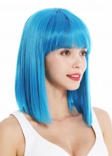 Perücke Damenperücke schulterlang Longbob glatt Kleopatra Pony Blau Hellblau