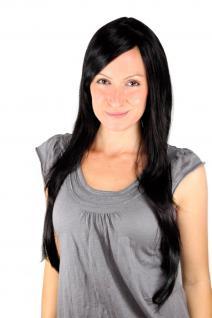 Perücke Schwarz SEHR LANG markanter Scheitel 75 cm glatte Haare langhaarig Haar