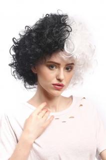 Perücke Damen Karneval Halloween stark gelockt Afro Volumen Halb Schwarz Weiß