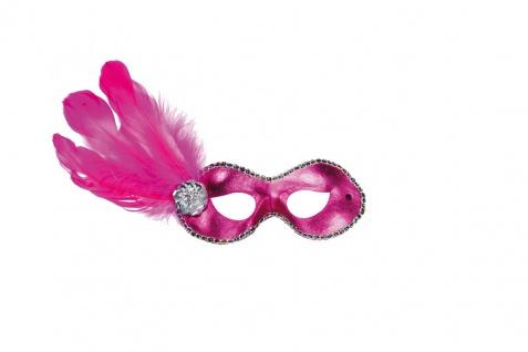 Rubies: Domino mit Federn pink Modell 6/245986 Maske Venedig Maskenball Oper