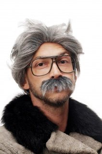 Fasching Karneval Halloween Opa Kauz Professor Großvater Perücke Bart grau 4129