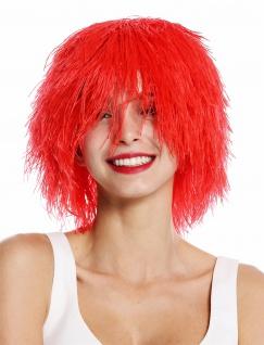 Perücke Damen Herren Karneval struppig wild voluminös Kobold Clown Rot - Vorschau 2