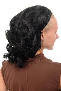 Halbperücke Haarteil geflochtener Haarreif schulterlang wellig schwarz 90604-1