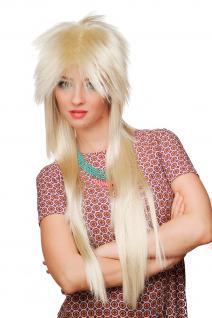 Perücke 80er Jahre Vohuhila blond lang Glam Rock Rockstar Rocker WIG 9666-88 NEU