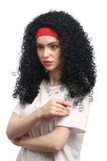 Perücke Damen Fasching Karneval rotes Stirnband Schwarz gelockt Latina Karibik