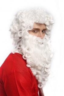 Perücke Bart Set Weihnachtsmann Santa Claus Nikolaus Ruprecht Prophet Gott Weiß