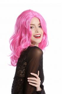 Perücke Damen Halloween Karneval pink rosa schulterlang wellig Mittelscheitel