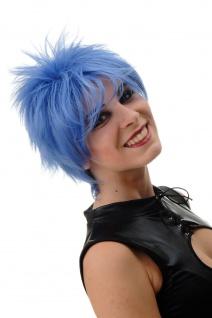 Damenperücke Perücke kurz toupiert wilde Strähnen 80er Wave Punk Blau BLUE144