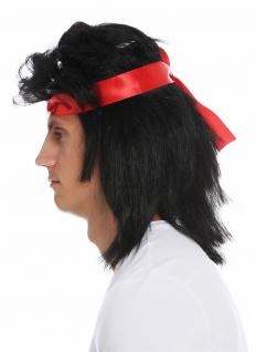 Perücke Stirnband Karneval Herren lang Vokuhila 80s Action-Star Kung-Fu schwarz - Vorschau 3