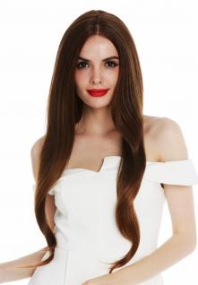 Perücke Damen Monofilament sehr lang sleek glatt Rotbraun Blond gesträhnt wig