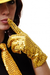 Handschuhe Fasching Karneval Revue Cabaret Pailletten 80er Gold VQ-021-GOLD