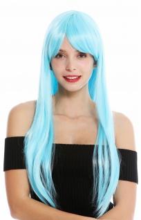 Damenperücke Perücke Damen Cosplay lang glatt Pony gescheitelt Hellblau