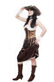 Kostüm Damen Damenkostüm Set Piratin Piratenbraut Freibeuterin L051 - Vorschau 2