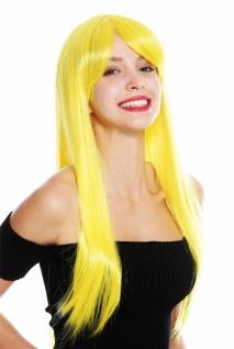 Damenperücke Perücke Damen Cosplay lang glatt Pony gescheitelt gelb YZF-41062