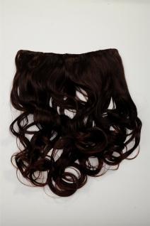 Clip-In Extension Haarverlängerung breit hitzefest 5 Clip lockig braun kastanie
