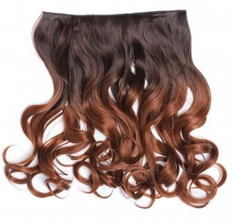 Clip-in Extension Haarverlängerung breit gelockt Locken Ombre Kastanie Braun
