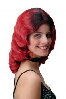 Damen Perücke Wasserwelle Hollywood Diva gewellt Volumen Ombre schwarz rot