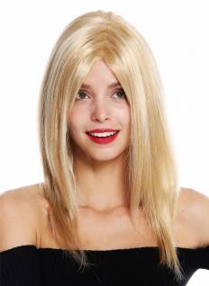 Damenperücke Perücke Damen lang glatt Scheitel gesträhnt Blond Platin GFW3098