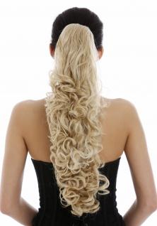 Voluminöses Haarteil Zopf Pferdeschwanz lockig sehr sang 60cm Blond Goldblond