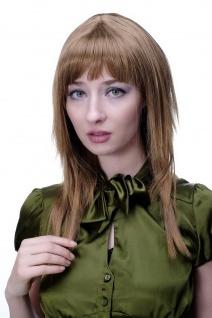 Perücke Damen Frauen dunkelblond rötlich gesträhnt Pony glatt stark gestuft 9214