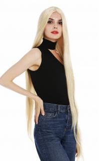 Perücke Damen Frauen sehr lang 120cm glatt sleek Mittelscheitel Blond Goldblond
