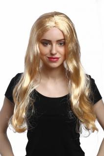 Perücke Damen Karneval Fasching lang glatt Mittelscheitel Blond Goldblond