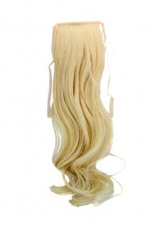 Haarteil ZOPF helles Blond wellig 45cm YZF-TC18-88 Band Klammer Haarverlängerung