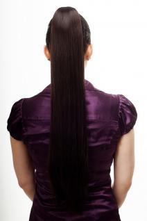 Haarteil/Zopf, sehr lang, glatt, Butterfly-Klammer, 70 cm, Dunkelbraun, T113-4