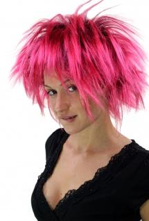 Perücke Damen Herren Punkige 80er Punk Wave Frisur hoch toupiert Schwarz Pink