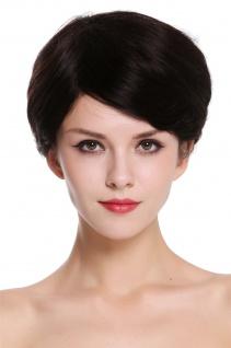Echthaar Perücke Damen kurz glatt Scheitel Naturfarbe dunkelbraun schwarzbraun - Vorschau 1