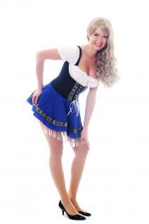 Damenkostüm Tracht Kleid: Blaues Dirndl Oktoberfest Bayern Deutschland Magd L033