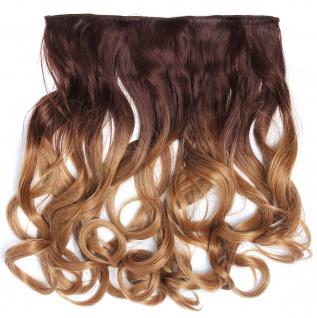 Clip-in Extension Haarverlängerung breit gelockt Locken Ombre Braun Blond 40cm