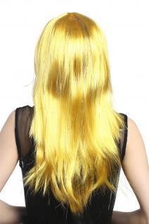 Perücke Karneval Fasching Damen lang glatt Pony gelb Glitter Strähnen XR-003 - Vorschau 3