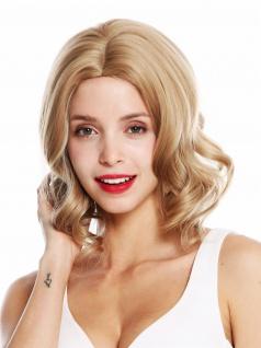 Perücke Damen schulterlang Mittelscheitel gelockte Spitzen Blond gesträhnt