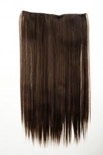 Haarteil Haarverlängerung breit 5 Clips dicht glatt Mittel-Braun 60 cm L30172-8