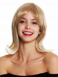 Perücke Damen kurz Blond Mix geschwungene platinblonde Spitzen Retro Look 2384