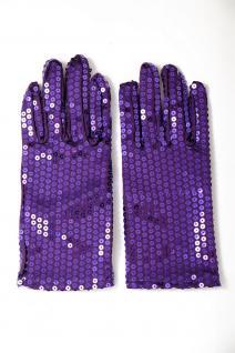 Handschuhe Fasching Karneval Revue Cabaret Pailletten Lila 80er VQ-021-PURPLE - Vorschau 2