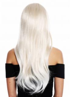 Perücke Damen lang glatt langer Pony gescheitelt Blond Weißblond Gesträhnt - Vorschau 4