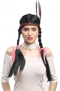 Perücke Damen Karneval Schwarz Indianer Indianerin Squaw Zöpfe Stirnband Feder