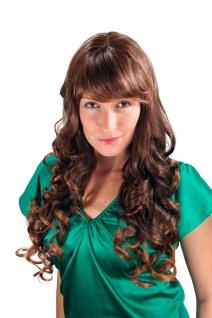 Damenperücke Wig brünett gesträhnt Brauntöne lang Locken Strähnen 65cm 7633-2T30
