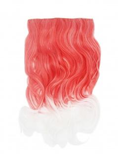 Extension Haarverlängerung 5 Clips breit lockig Ombre zweifarbig Rot Weiß 50cm