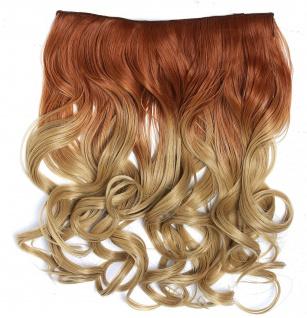 Clip-in Extension Haarverlängerung breit gelockt Locken Ombre Blond Honigblond