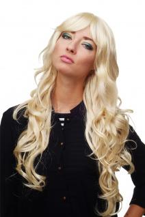 Damen Perücke Blond-Mix Locken Wellig Lang Seitenscheitel ca. 70 cm 9204S-LG26
