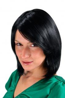 Damenperücke Schwarz Bob toupiert Scheitel Perücke kurz Haarersatz 30 cm 1215-1