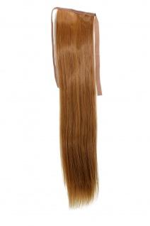 Haarteil ZOPF Kupfer-Blond glatt 45cm YZF-TS18-27 Band Klammer Haarverlängerung