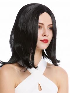 Perücke Damenperücke Frauen Longbob kurz glatt seitlicher Mittelscheitel Schwarz