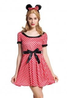 Kostüm Damen Frauen Maus süßes Mäuschen Kleid rot weiß gepunktet Gr. M/L W-0136