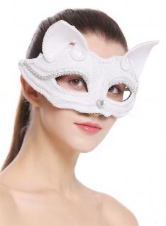 Halloween Karneval Maske Halbmaske Augenmaske Katze weiß Maskenball BB-001-white
