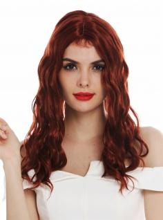 Perücke Damenperücke lang wellig Mittelscheitel mit Haaransätzen Kupfer Rot